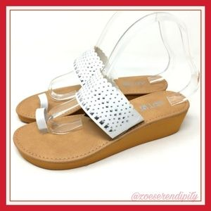 Studded White Wedge Sandals